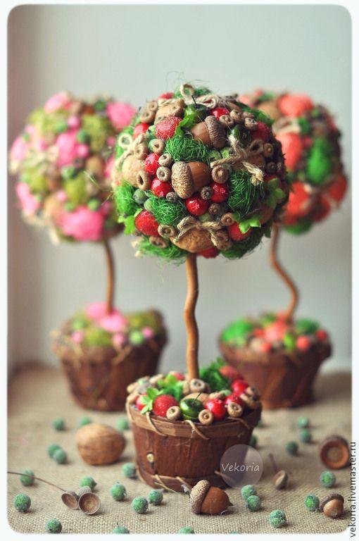 """Купить Топиарий """"Красный фрукт"""" - разноцветный, сочный, топиарий, Дерево счастья, интерьерное дерево, для кафе"""