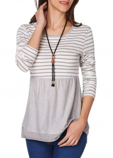 Round Neck Long Sleeve Stripe Print T Shirt, new sign up 15% off, check it out.