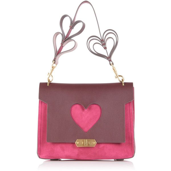 Anya Hindmarch Bathurst X Heart Satchel (9,620 CNY) ❤ liked on Polyvore featuring bags, handbags, pink, satchel handbags, heart shaped purse, anya hindmarch, pink heart purse and white purse