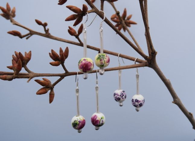 Ceramic Bead and Sterling Silver Earrings