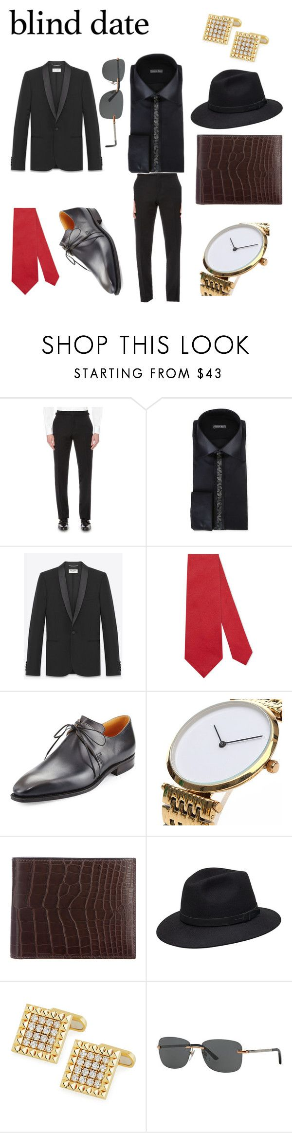 """""""Blind date"""" by joshua-latreille ❤ liked on Polyvore featuring Tom Ford, Stefano Ricci, Yves Saint Laurent, Gucci, Corthay, Hermès, Roberto Coin and Bulgari"""