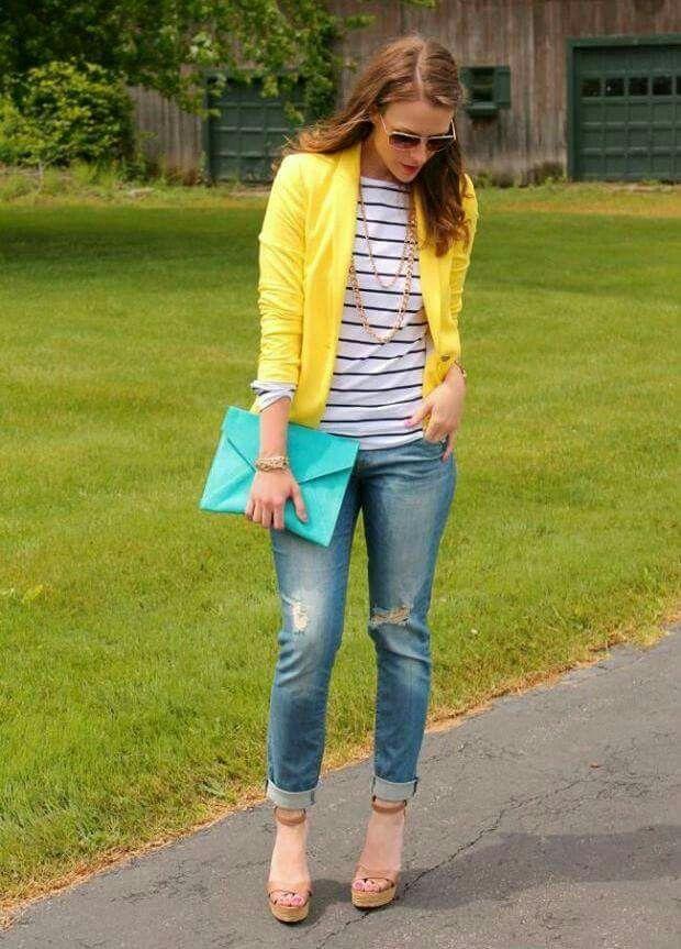 Casual blazer amarillo jeans blusa rayas
