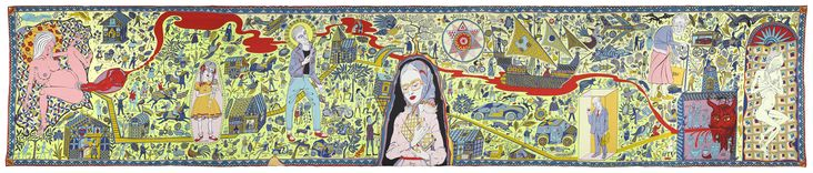 Grayson Perry's tapestry depicting bourgeois Britain
