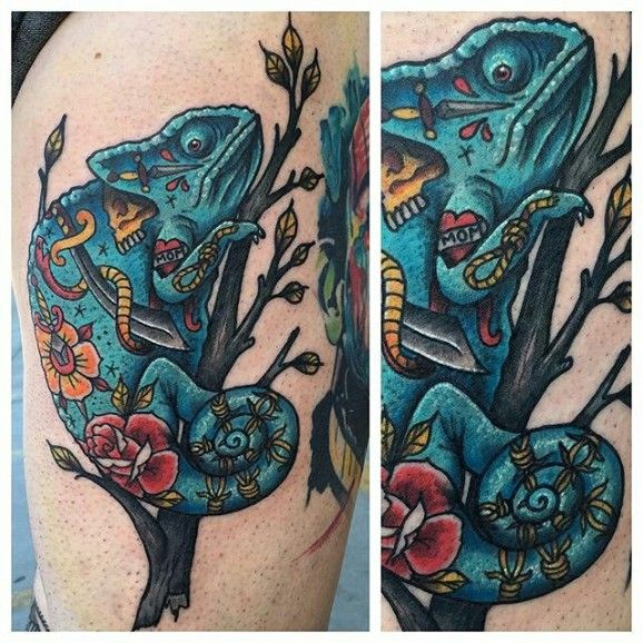 Tattooed chameleon by Devan Smith.