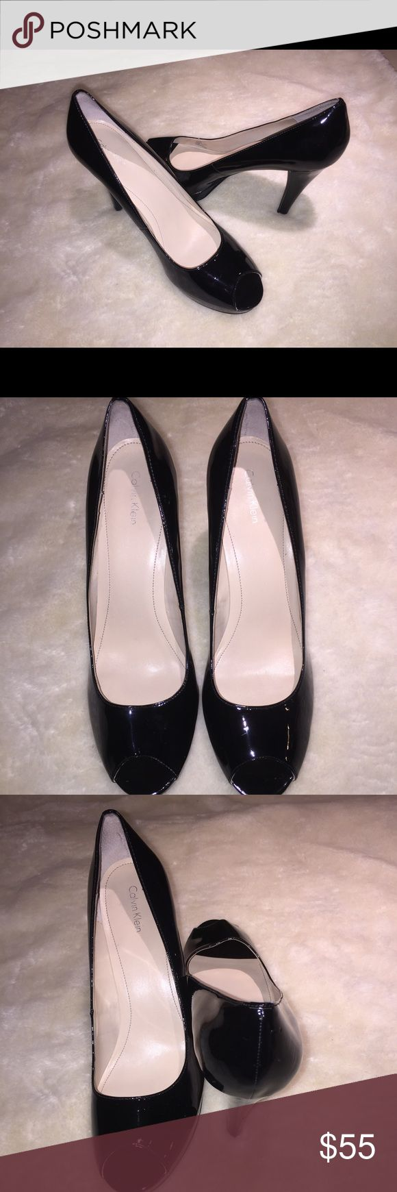 "Calvin Klein Black Patent Leather High Heel Pumps Woman's Black Patent Leather Shoes  Size 11 Peep Toe Style  Heel Height is Aprox 4 1/2""  These are in Very Good Condition. They have only been worn a handful of times . Calvin Klein Shoes Heels"