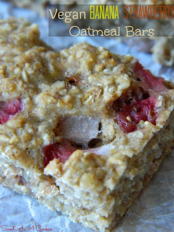 Sweet As A Cookie: The Skinny - Vegan Banana Strawberry Oatmeal Bars