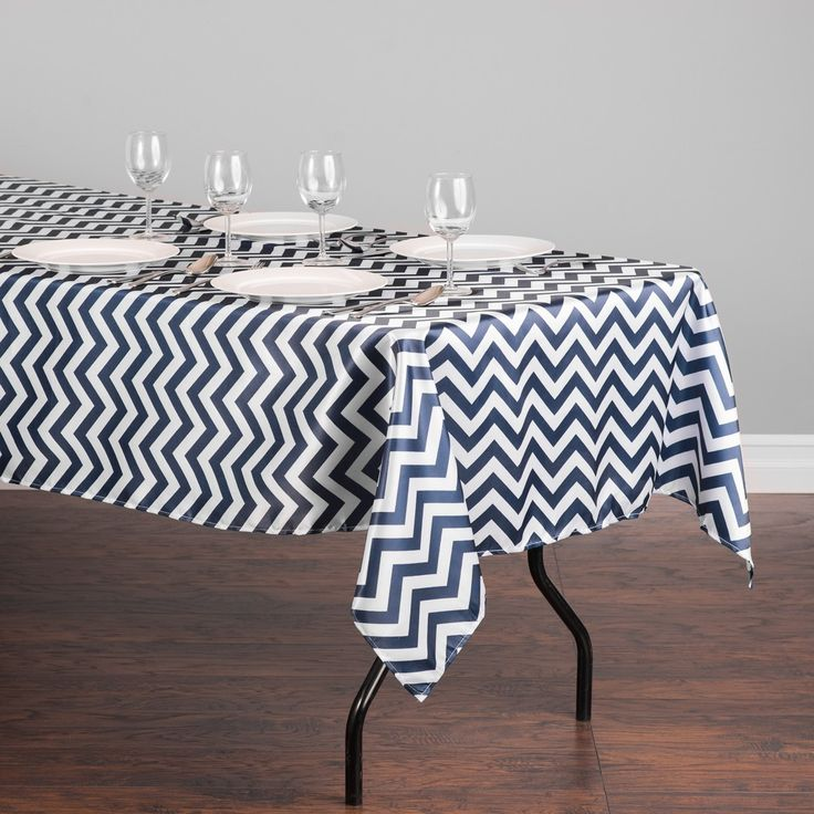 Navy Blue And White Rectangular Chevron Satin Tablecloth 59 X 126 Inches