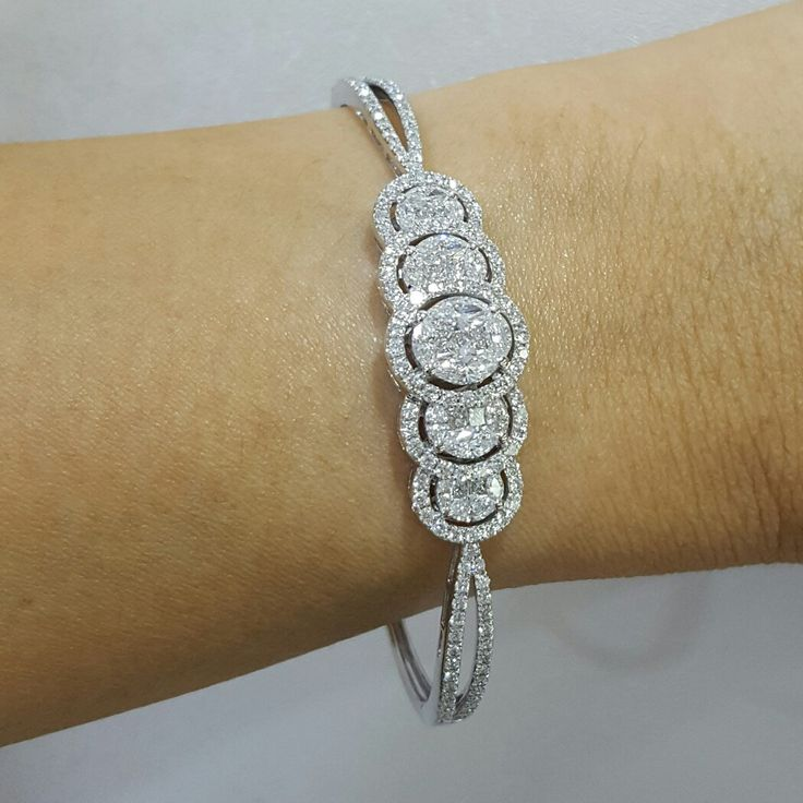 bracelet diamond bangles diamonds tone cz two pair ad simulated