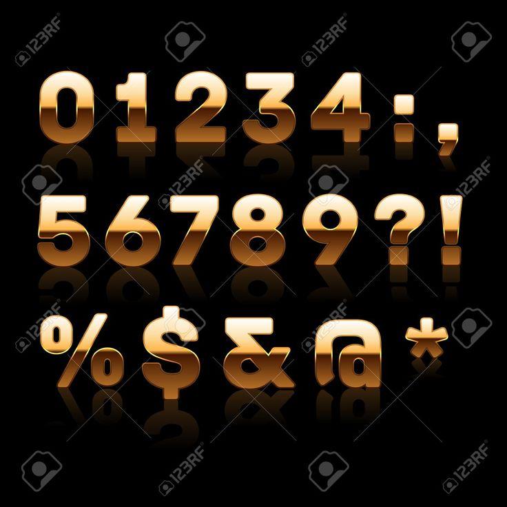 Arany számjegy és karakter beállítása 2. vektoros illusztráció.  Stock illusztráció