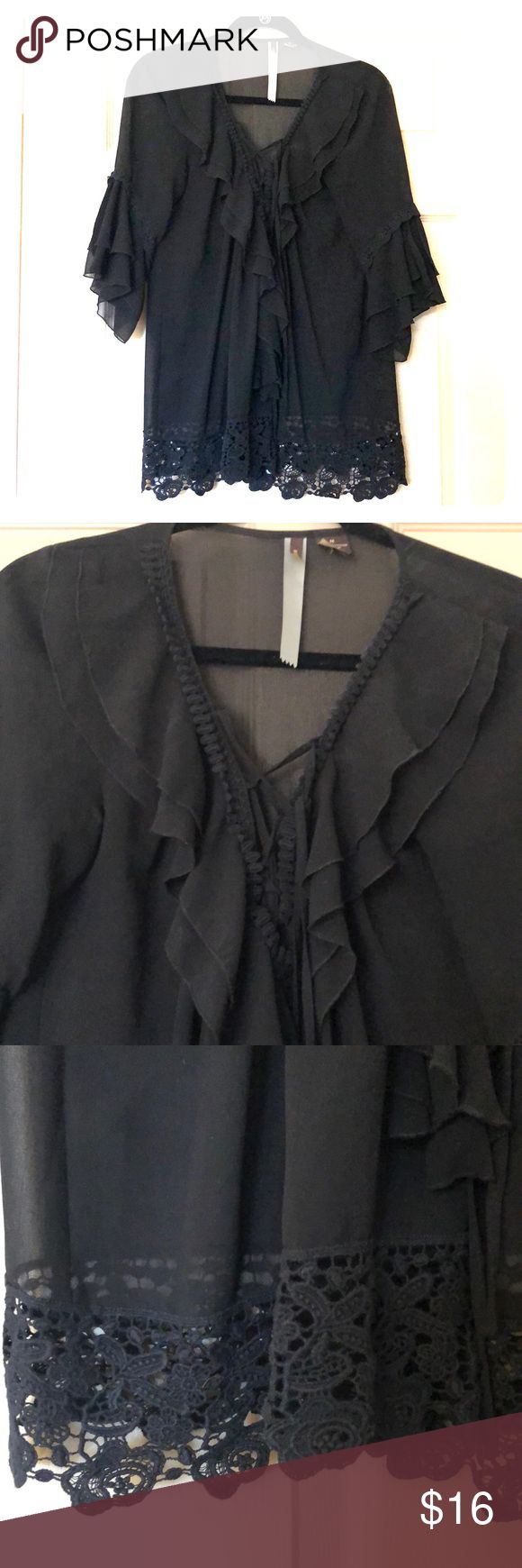 Black going out top Boutique top - black and slightly sheer. Perfect for going out! Size M. Gently used. Tops Blouses