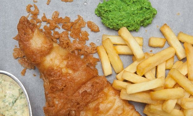 Fish an Chips and Minted Mushy Peas.