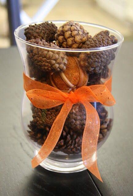 Pine cones in a vase