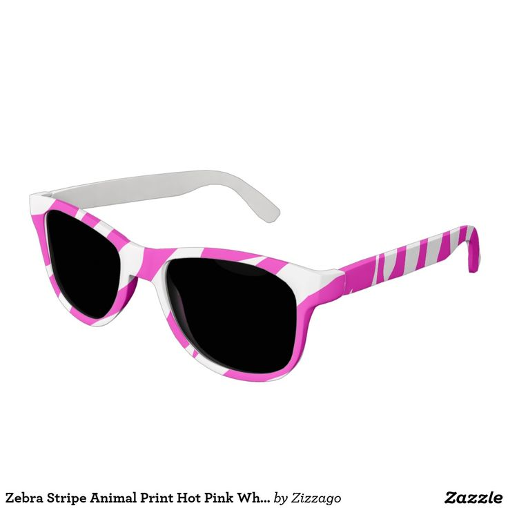 Zebra Stripe Animal Print Hot Pink White Sunglasses