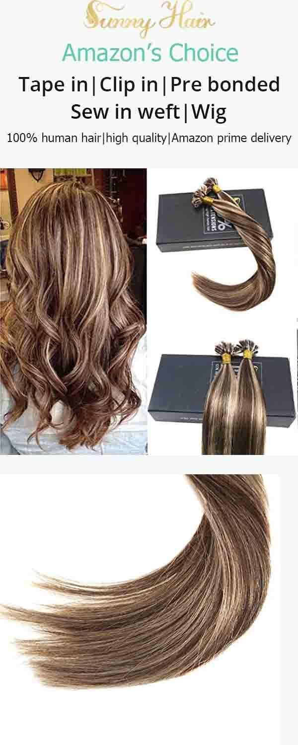 Sunny 7a Prebonded U Tip Hair Extensions Brown With Blonde Nail Tip