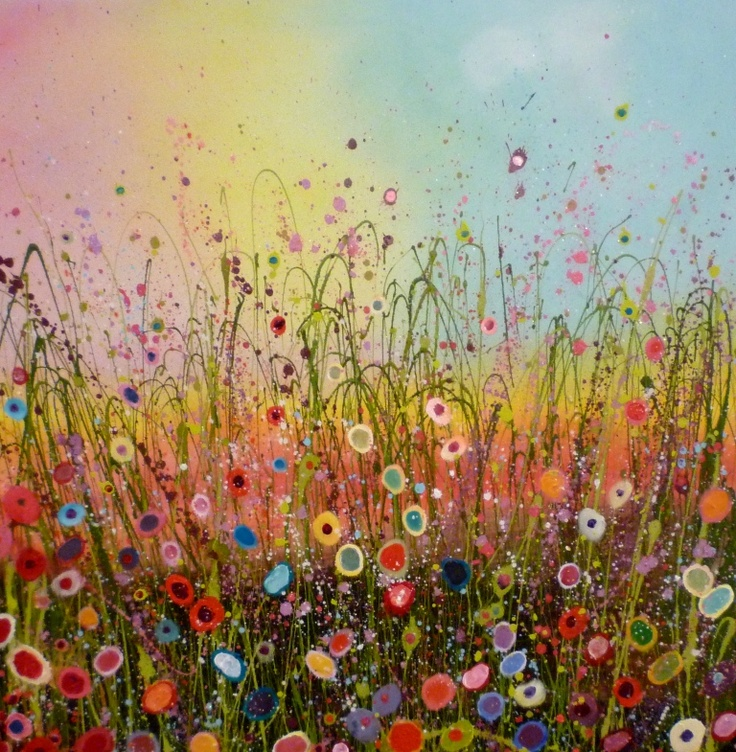 Yvonne Coomber creates glitter and colour filled paintings of wildflower landscapes.♥•♥•♥