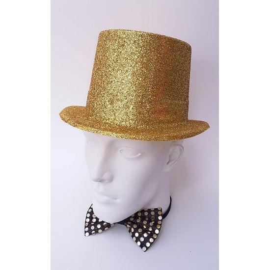 Plastic glitter hoed. Deze gouden glitter hoed is geschikt voor volwassenen. Bestel hier ook uw gouden pruik of gouden feest kleding.