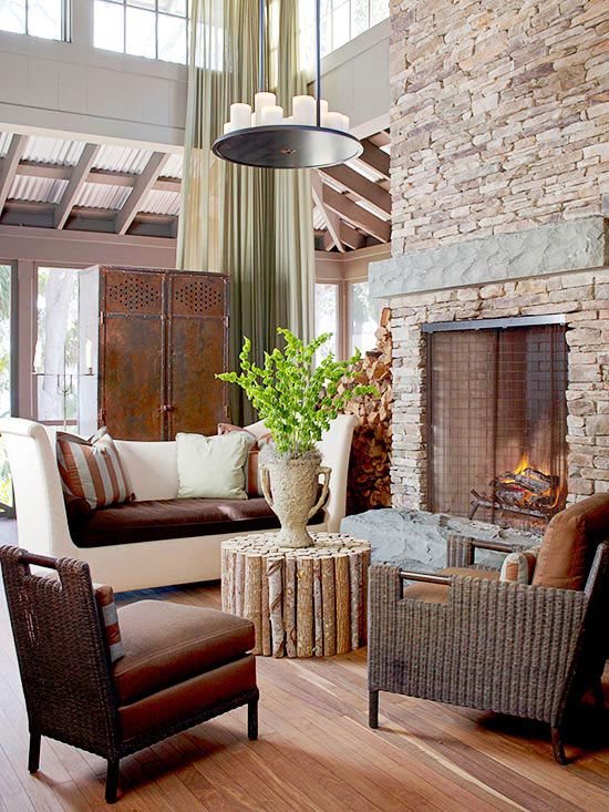 We love the feel of this rustic living room! More living room lighting ideas: http://www.bhg.com/home-improvement/lighting/planning/living-room-light-ideas/?socsrc=bhgpin083013rustic=6