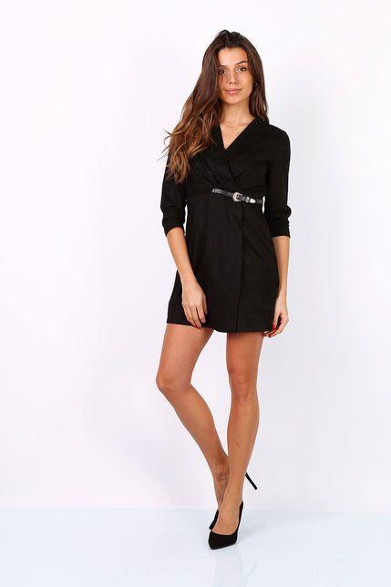 5d06015a1544 Zavinovacie čierne mini šaty s opaskom