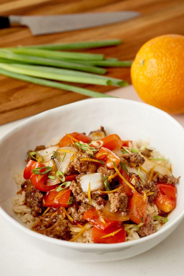 Crispy Orange Ground Beef & Veggies. You'll definitely want plenty of rice to soak up the extra sauce.