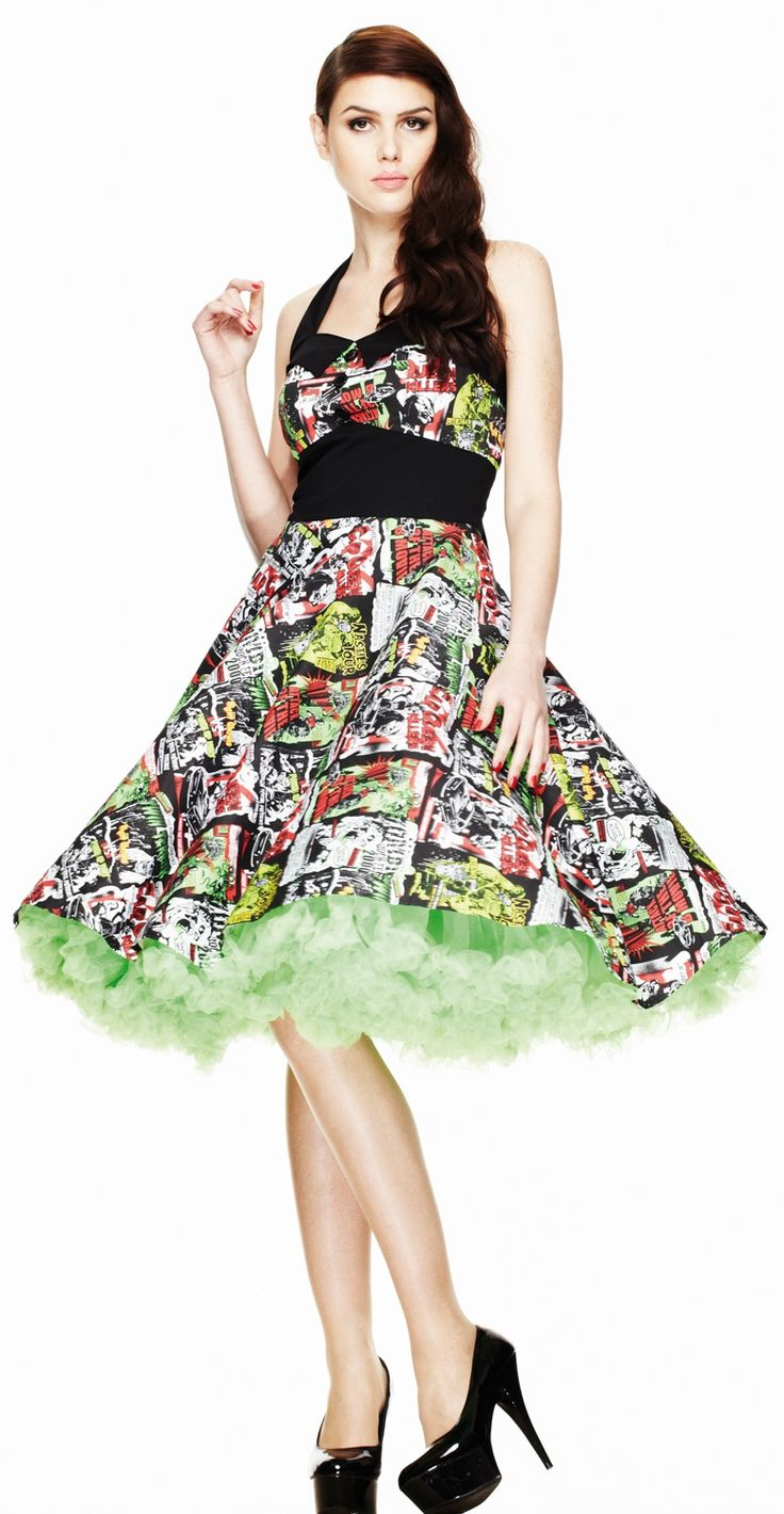 The B-Movie fabric is amazing with zombies, ghouls, car killers, and other terrific comics graphics. The Dress features a back zip fastening and black trim with button detail, halterneck tied strap, black waist panel.