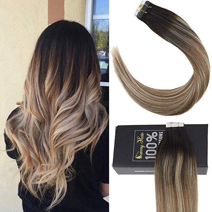 Sunny Seamless Human Hair Extensions Tape In Natural Black Ombre