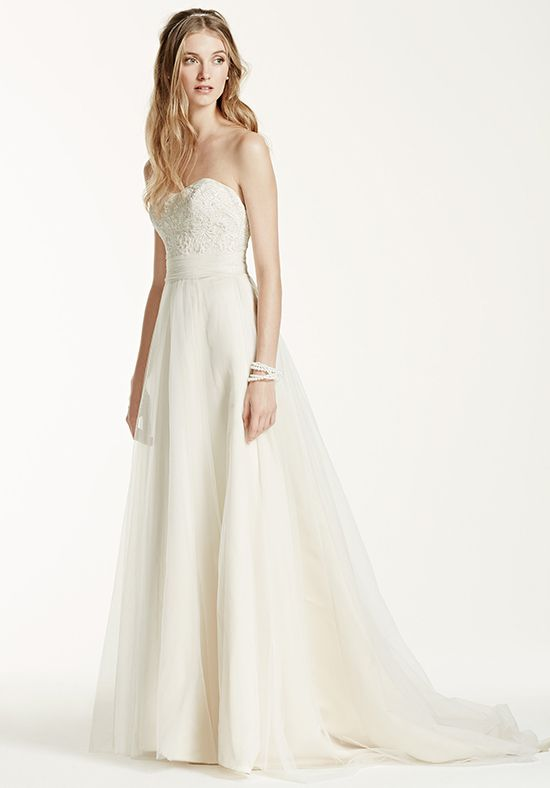 David's Bridal / Affordable Strapless A Line Beaded Lace Tulle Gown