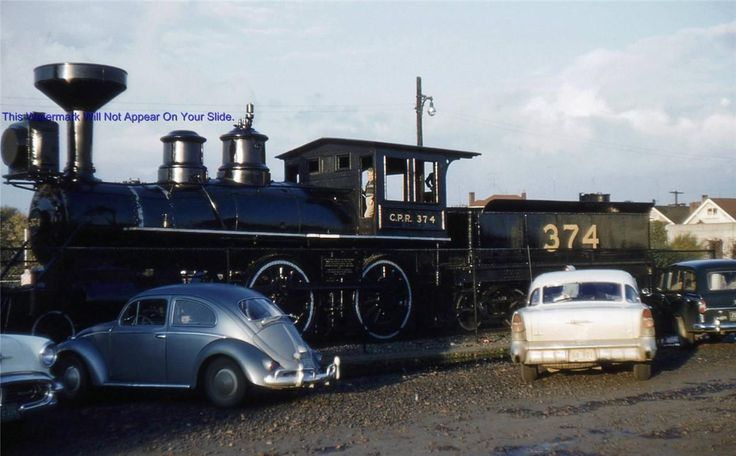 The 374 locomotive that brought the first train into Vancouver on May 23rd 1887. Here in 1960 when it sat by the beach in Kitsilano area of Vancouver. I used to climb on it when I was a kid.