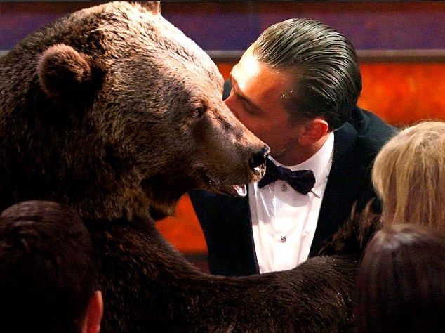 Sealed with a kiss: Leonardo DiCaprio reserved a kiss from the bear from The Revenant in o...