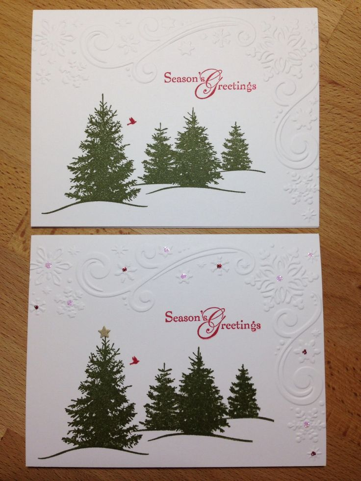 One layer Christmas card.  Non-bling & bling version.  Darcie snowflakes & scroll embossing folder. SU scenic season. Sentiment SU snow swirled. SU real red & mossy meadow. Stickles Xmas red & crystal. Star tiny punch of SU brushed gold card stock.