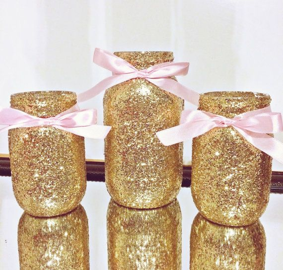 Pink and gold mason jar set