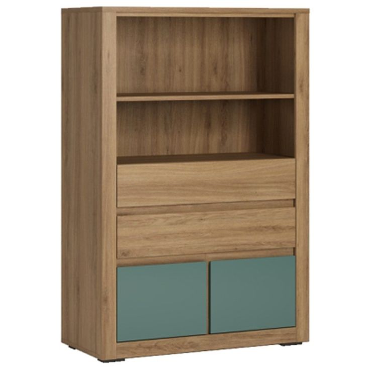 Hobby 4 Drawer Storage Unit With Open Top Shelf In Oak Melamine / Turquoise - Whether used in the kids bedroom, living room or your own bedroom, the Hobby range offers from Furniture To Go offers you unlimited possibilities for storage and décor in some very funky and unique colour combinations.