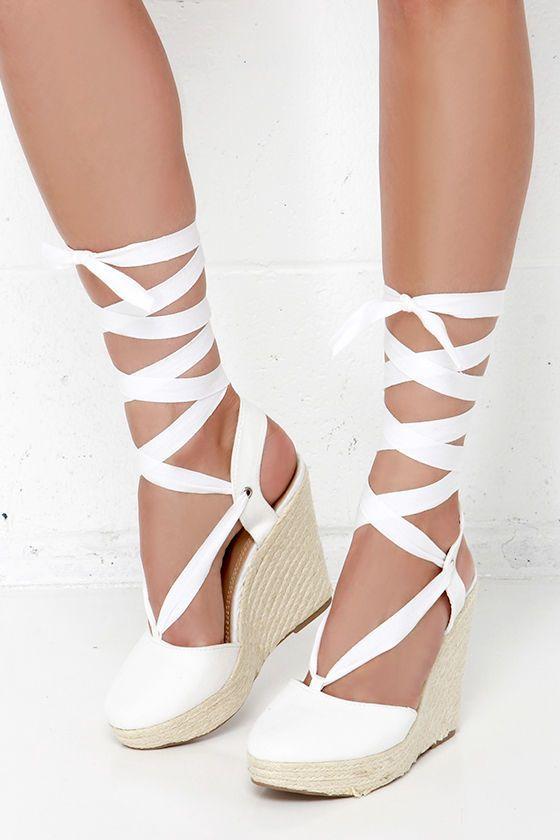 586ea024c0b Ankles Aweigh White Espadrille Leg Wrap Wedges