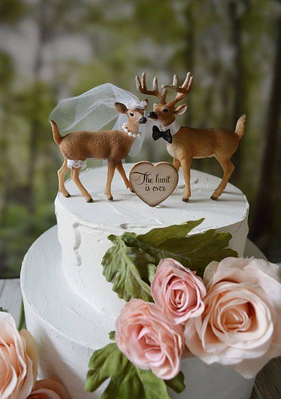 deer-hunter-bride-groom-wedding-cake topper-camouflage-country-rustic-woodland-buck-doe-deer lover-hunting-fishing-woods-deer wedding-Mr Mrs