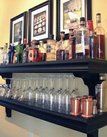 Shelf above bar for glasses...add trim to front sides....make it a little taller than shelf thickness so glasses won't fall off!