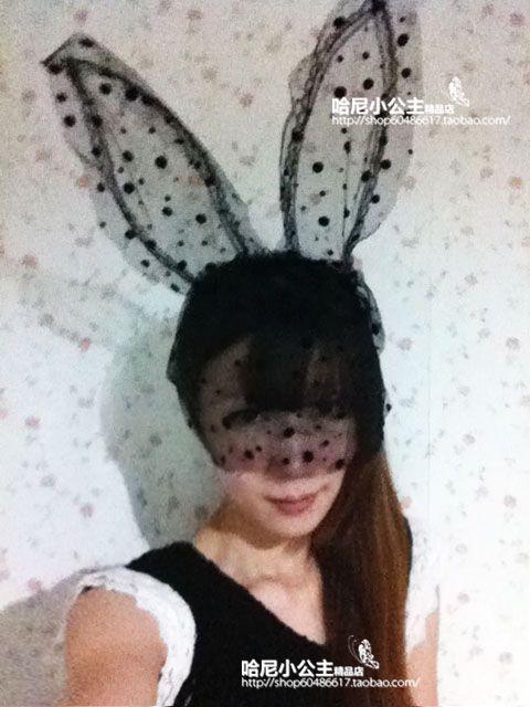 moda sexy pizzo coniglio orecchie velo di pizzo di natale maschera gatto orecchie bande di capelli