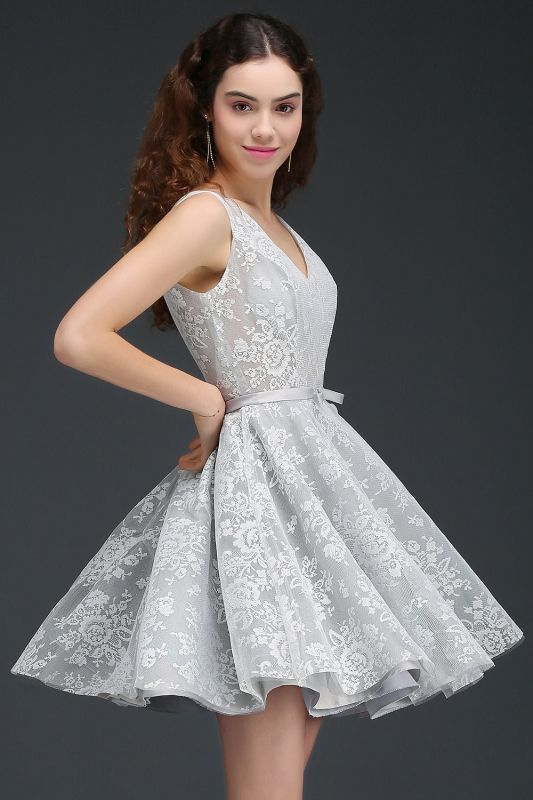 2874961b65969 2018 Mezuniyet Elbiseleri Gri Kısa V Yakalı Kalın Askılı Kabarık Kloş Etekli