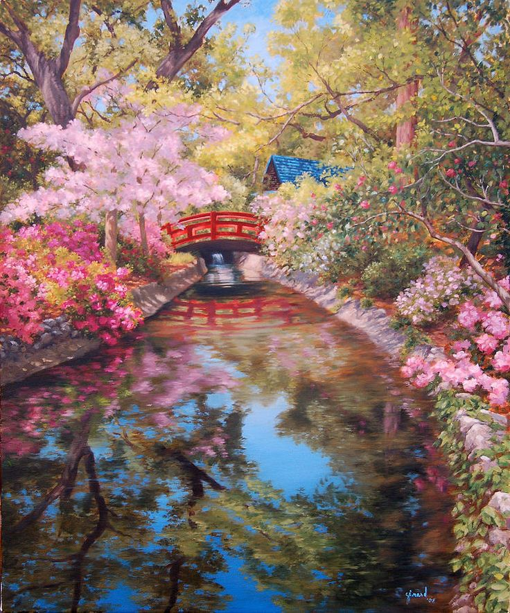 bridge to the japanese teahouse painting johanna girard - Japanese Garden Cherry Blossom Paintings
