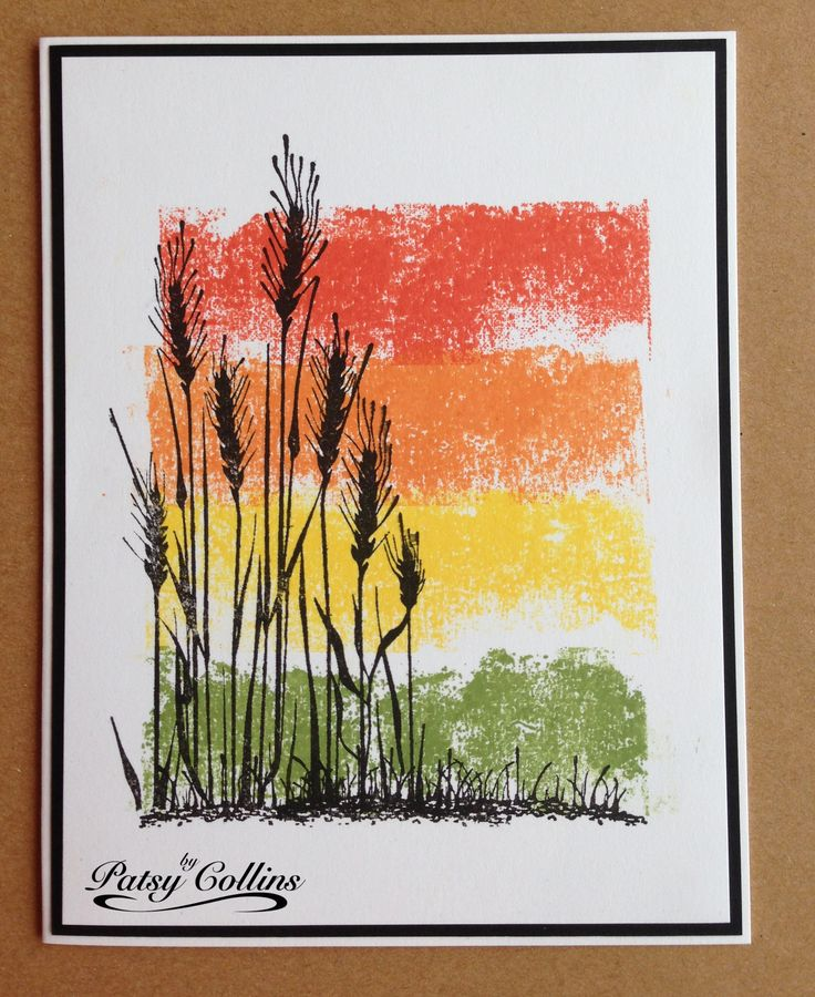By Patsy Collins. Using ink-on-tape to create a background within an image panel: Lay blue painter's tape on ink pad & scrap paper on top. Press down. Lay inked tape on cardstock. Press. Hold cardstock with one hand while pulling off tape with other hand.