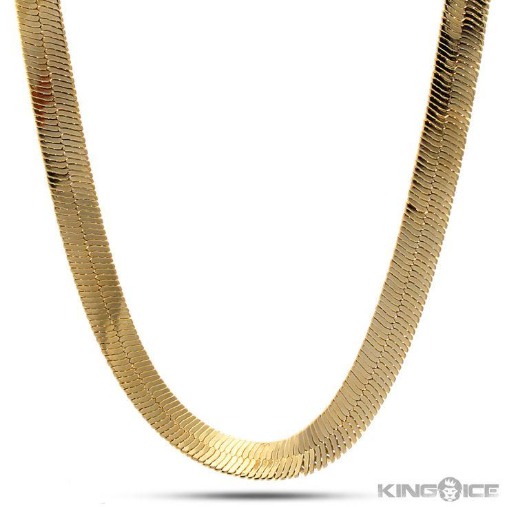 10mm King Ice 14K Gold Herringbone Chain