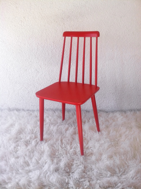 wood red chair