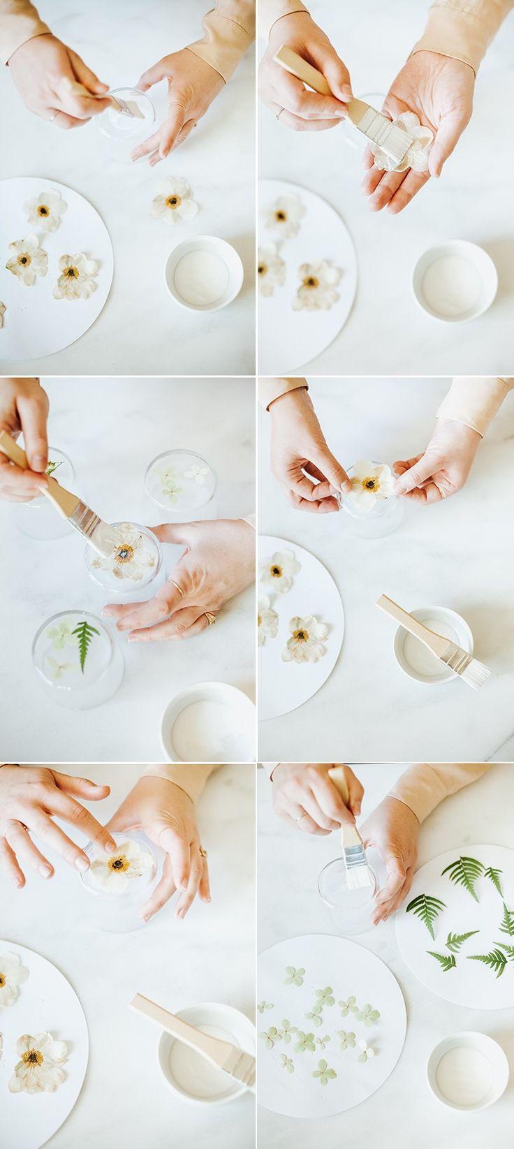 DIY // gepresste Blumen Karaffe & Gläser