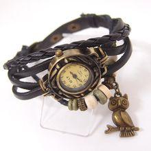 Vintage damenmode quarzuhr frauen Eulen-anhänger artikel stunden Bead Armband armbanduhr SSL23
