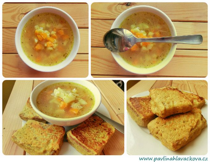 "česnečka s kukuřicí a chleba v hrašce garlic soup with corn and bread in ""hraška"""