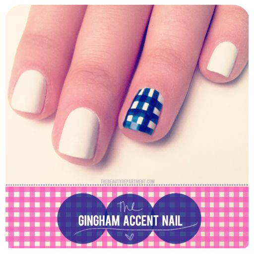 Blue gingham nail art. nails nailart nailpolish manicure