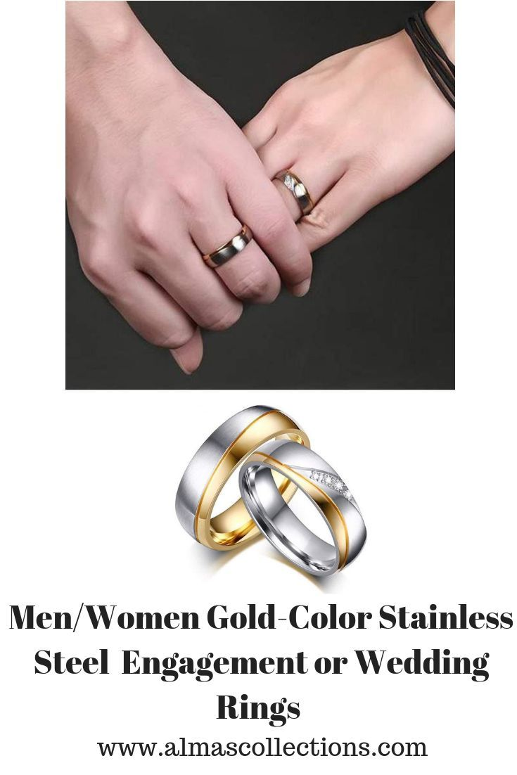 Only 16 99 Men Women Gold Color Stainless Steel Engagement Or Wedding Rings The Perfect Ring For Him Or Rings For Men Wedding Rings Wedding Rings Unique