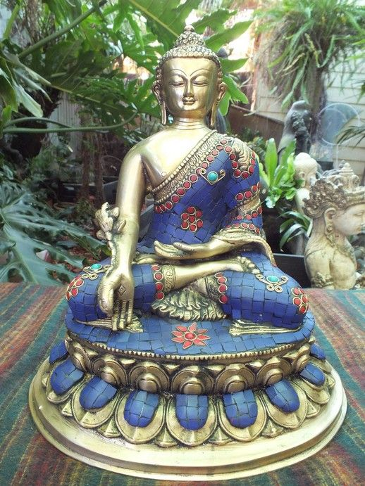 Medicine Buddha Brass statue decorated with lapis and red coral,