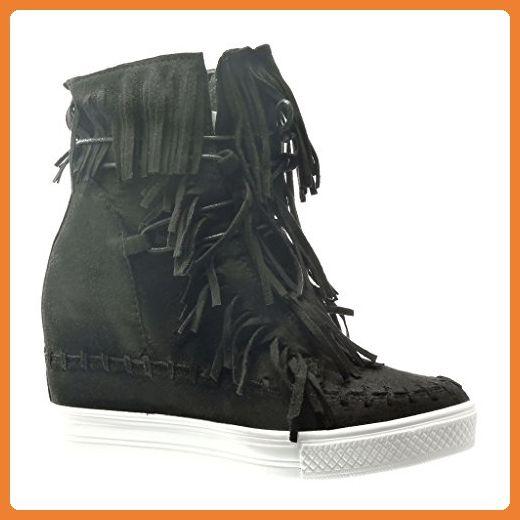 Angkorly - damen Schuhe Sneaker Keilabsatz - Franse - Bommel Keilabsatz high heel 8 CM - Schwarz C-216 T 36 - Sneakers für frauen (*Partner-Link)