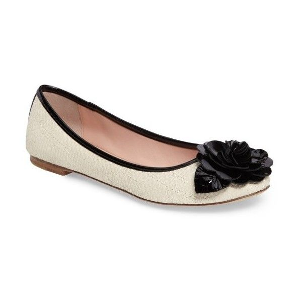 Women's Kate Spade New York Wilshire Woven Rose Flat ($228) ❤ liked on Polyvore featuring shoes, flats, cream, cream ballet flats, rose shoes, flat shoes, patent flats and ballet flats