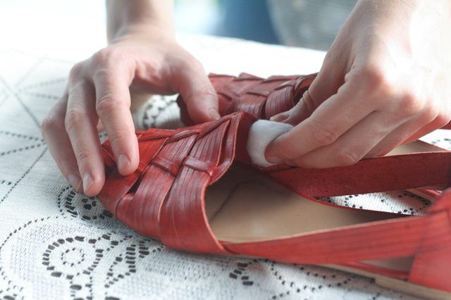 You can make liquid shoe stretch solution at home using items you may already have in your medicine cabinet. Leather shoes respond well to stretching with a liquid shoe stretch solution. Plastic or wooden shoe stretchers can also be inserted into shoes that have been treated with the solution to help stretch the material of the shoe.