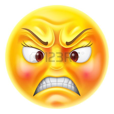 Angry or fuus looking red faced emoticon emoji character Stock Vector
